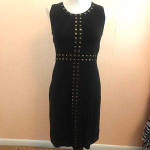 Black New Directions Midi with Gold Studs ML Dress